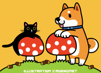 柴犬イラスト 黒猫イラスト きのこイラスト