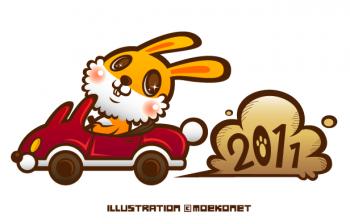 車に乗ったウサギのイラスト