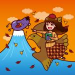 秋の落ち葉とベレー帽に読書スタイル