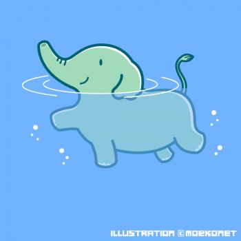 泳ぐ象イラスト