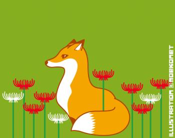 彼岸花と狐イラスト