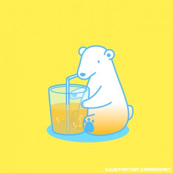 シロクマイラストオレンジジュース