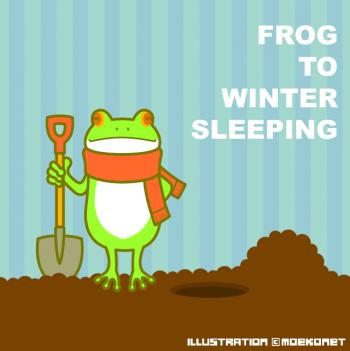 カエルイラスト冬眠