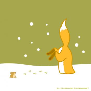 キツネ雪突っ込む狩りイラスト