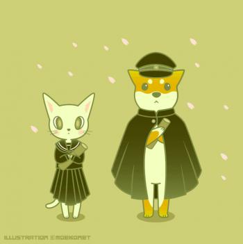 柴犬イラスト猫イラスト学ランマントセーラー服