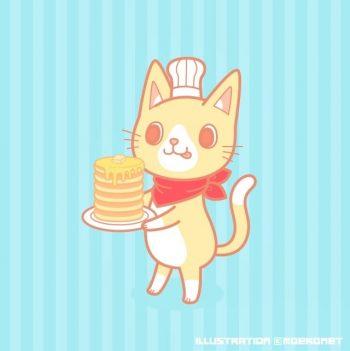 パンケーキ猫イラスト