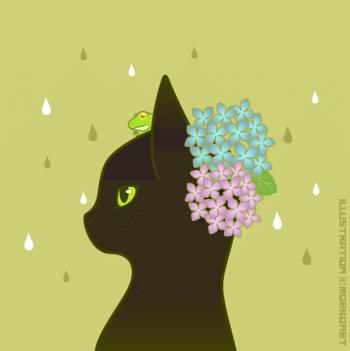 紫陽花黒猫カエルイラスト