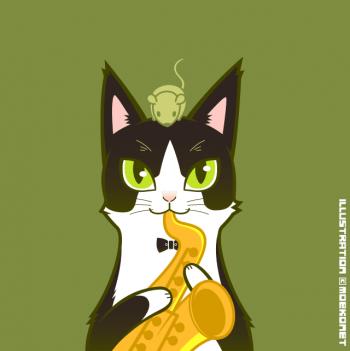 猫ジャズイラスト