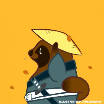 たぬき侍イラスト